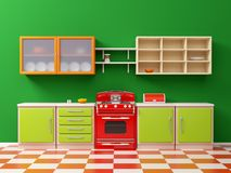 Vintage 50s kitchen flat. Flat retro kitchen interior in 50s style. 3d illustration Vector Illustration