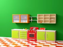 Vintage 50s kitchen flat. Flat retro kitchen interior in 50s style. 3d illustration Royalty Free Illustration