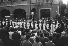 Vintage 1950's Parade of Orphan Boys in Italy Royalty Free Stock Photos