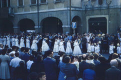 Vintage 1950's Procession of St. Anthony parade. Royalty Free Stock Photo