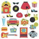 Vintage 1950s retro style item set. Collection of vintage retro 1950s style items that symbolize the 50s decade fashion accessories, style attributes, leisure royalty free illustration