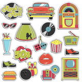 Vintage 1950s retro style stickers set. Collection of vintage retro 1950s style stickers that symbolize the 50s decade fashion accessories, style attributes Stock Images