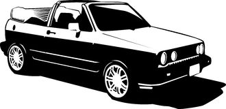 Vintage 80s 90s cabriolet car Royalty Free Stock Image