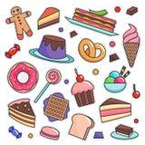 Vintage 80s-90s Delicious Dessert Theme Fashion Patch Cartoon Illustration Set. Vintage 80s-90s Delicious Dessert Theme Fashion Cartoon Illustration Set Suitable vector illustration