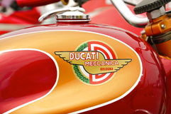 Vintage 1950`s/1960`s Ducati Motorcycle Logo. 1960`s Ducati Logo on a 1966 Monza 250 gasoline tank Stock Photography