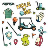 Vintage 80s-90s Golf Fashion Cartoon Illustration Set