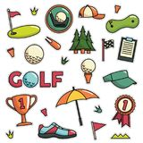 Vintage 80s-90s Golf Fashion Cartoon Illustration Set. Suitable for Badges, Pins, Sticker, Patches, Fabric, Denim, Embroidery and Other Fashion Related Purpose royalty free illustration