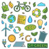 Vintage 80s-90s Green Energy Fashion Patch Cartoon Illustration Set. Vintage 80s-90s Green Energy Fashion Cartoon Illustration Set Suitable for Badges, Pins royalty free illustration