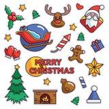 Vintage 80s-90s Merrry Christmas Fashion Cartoon Illustration Fashion Patch. Vintage 80s-90s Merrry Christmas Fashion Cartoon Illustration Set Suitable for royalty free illustration