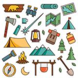 Vintage 80s-90s Mountain Adventure Fashion Patch Cartoon Illustration Set. Vintage 80s-90s Mountain Adventure Fashion Cartoon Illustration Set Suitable for royalty free illustration