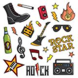 Vintage 80s-90s Rock And Roll Fashion Patch Cartoon Illustration. Vintage 80s-90s Rock And Roll Fashion Cartoon Illustration Set Suitable for Badges, Pins stock illustration