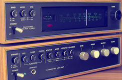 Vintage 1970's stereo tuner and amplifier. A vintage stereo tuner and amplifier from the early 1970's royalty free stock image