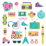 Vintage 1980s style item set vector illustration