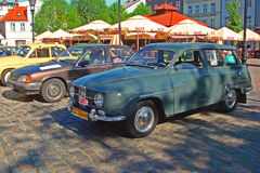 Vintage Saab 95 automobile. Classic Swedish beautiful Saab 95 from 1966 with two stroke three cylinder engine during old cars race in Wejherowo, Northern Poland Royalty Free Stock Images
