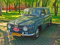 Vintage Saab 95 car. Vintage Saab 95 built in 1966 with three cylinders two-stroke motor, before rally of retro cars in Wejherowo, Poland. Yellow number plates Royalty Free Stock Photo