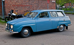 Classic Saab 95 car. Retro Swedish Saab 95 car with four stroke Ford motor during old cars race in Gdansk Oliwa, Northern Poland Stock Photography