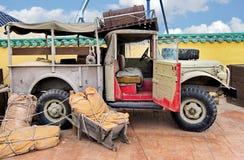Vintage car. Old vintage safari car prepared for trip Stock Photography