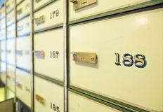 Vintage safe deposit boxes Stock Photos