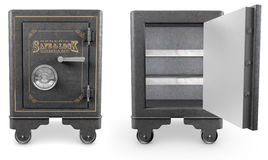 Vintage Safes. 2 Antique iron safes isolated on white background, one is open Stock Images