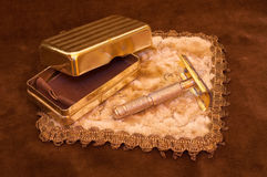 Vintage Safety Razor. Close-up of an old safety razor with case Stock Images
