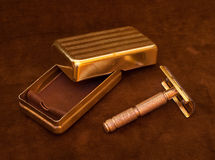 Vintage Safety Razor. Close-up of an old safety razor with case Stock Image