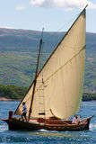 Vintage sail boat. Blue sea Stock Images