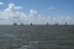 Vintage Sail boats waddenzee Stock Images