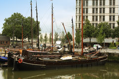 Vintage Sail ships in port. Stock Photos