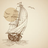 Vintage sailboat. Retro sailboat background with space for text Stock Image