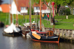 Vintage sailboat. Selective focus photo of a vintage sailboat in a harbor Stock Photography
