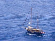 Vintage sailboat, Corfu island, Ionian, Greece royalty free stock images