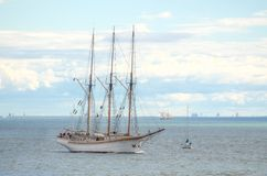 Vintage sailboat regatta in Helsinki. Royalty Free Stock Photos