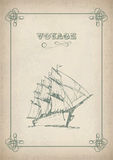 Vintage sailboat retro border drawing on old paper. Vintage sailboat border drawing on old paper. Travel print background picture with artistic hand drawn ship Stock Images