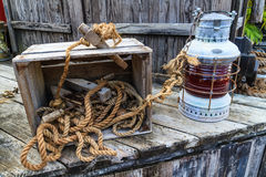 Vintage sailing boat equipment Stock Photography