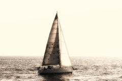 Vintage sailing boat. Sailing boat in navigation in open waters Royalty Free Stock Photography