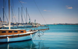 Vintage sailing boat in the port Stock Photography