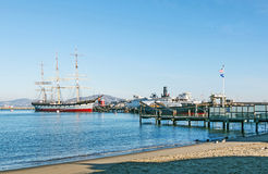 Vintage 1886 sailing ship, Balclutha and 1914 paddle wheel tug boat Royalty Free Stock Images