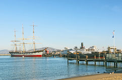 Vintage 1886 sailing ship, Balclutha and 1914 paddle wheel tug boat Royalty Free Stock Photos