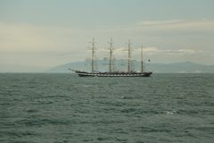 Vintage sailing ship  on the high seas Royalty Free Stock Photography