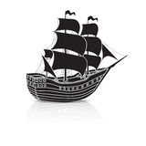 Vintage sailing ship at sea with reflection Royalty Free Stock Image