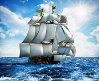 Vintage sailing ship at the sea under clear sky. 3D illustration Stock Images