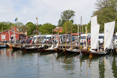 Vintage sailing ships before the start Stock Photo