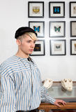 Vintage sailor butterflies alligator skull Stock Images