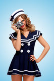 Vintage sailor girl. Royalty Free Stock Photos