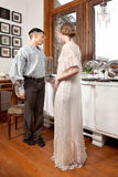Vintage sailor and girl in victorian dress Royalty Free Stock Photo
