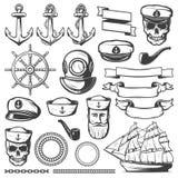 Vintage Sailor Naval Icon Set Royalty Free Stock Photos