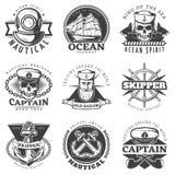 Vintage Sailor Naval Label Set Stock Photo