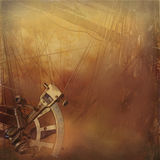Vintage sailship background. Old sailing ship deck with brass sextant with grunge and vintage effects Stock Photo