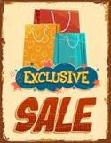 Vintage Sale Banner. Illustration of colorful shopping bag in vintage sale banner Stock Images
