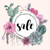 Vintage sale card with branches and succulent Royalty Free Stock Photos